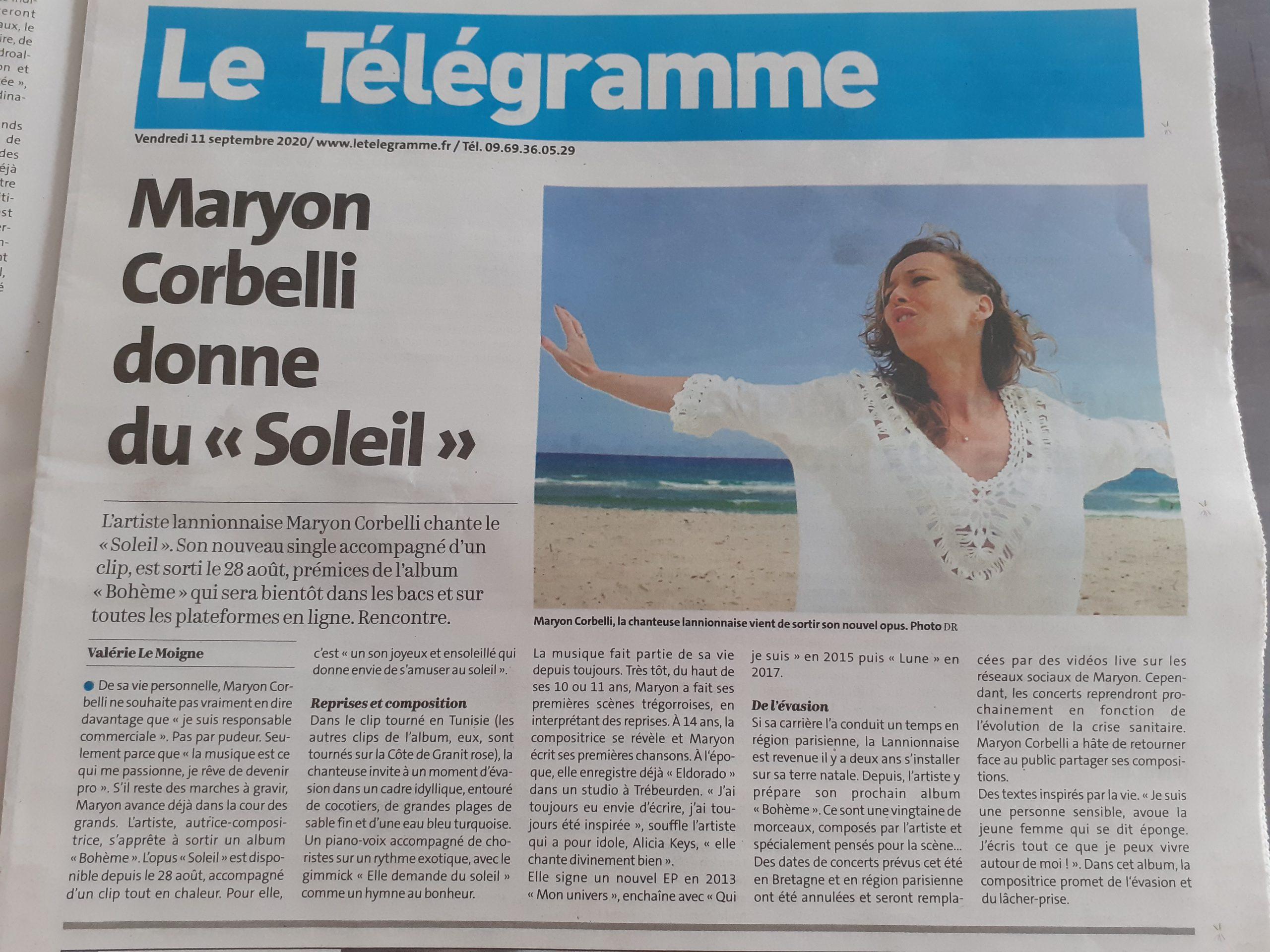 Maryon Corbelli - Parution Le Telegramme - Soleil