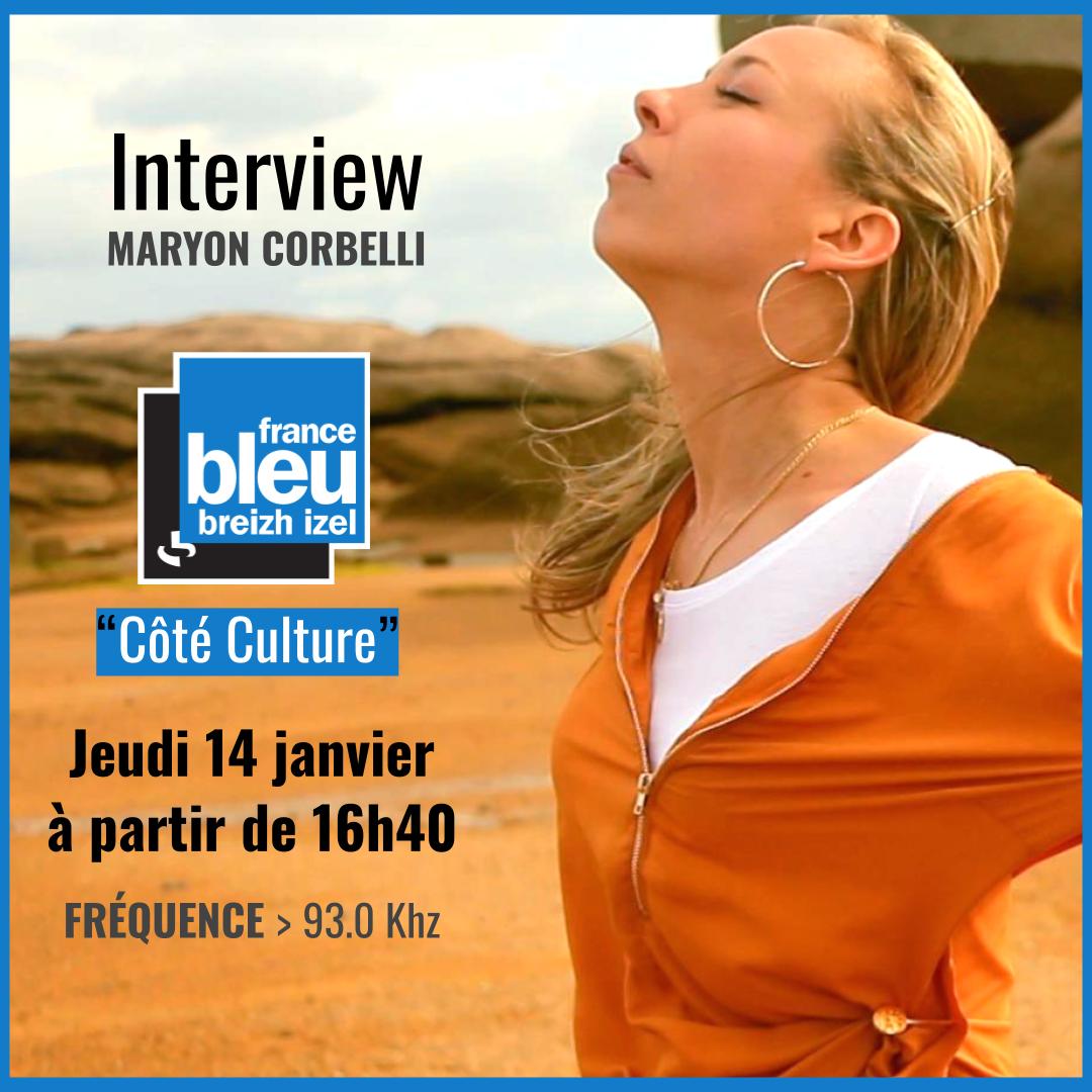 Interview Maryon Corbelli - France Bleu Breizh Izel - Emission Côté Culture - Jeudi janvier 2021