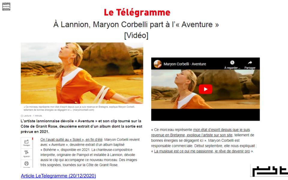 Le Telegramme Lannion - Maryon Corbelli - Maryon part à l'aventure