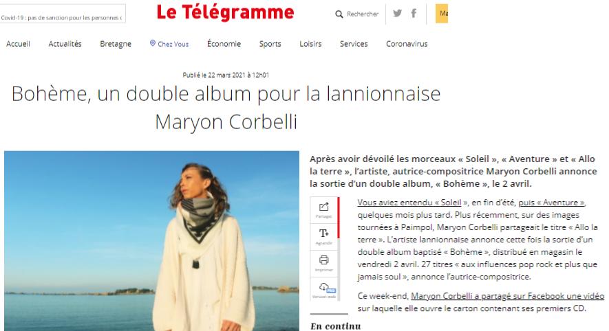 Journal Le Telegramme - Maryon Corbelli - Album Bohème