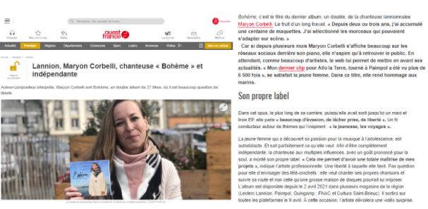 Maryon Corbelli - Ouest France - Interview - Album Bohème