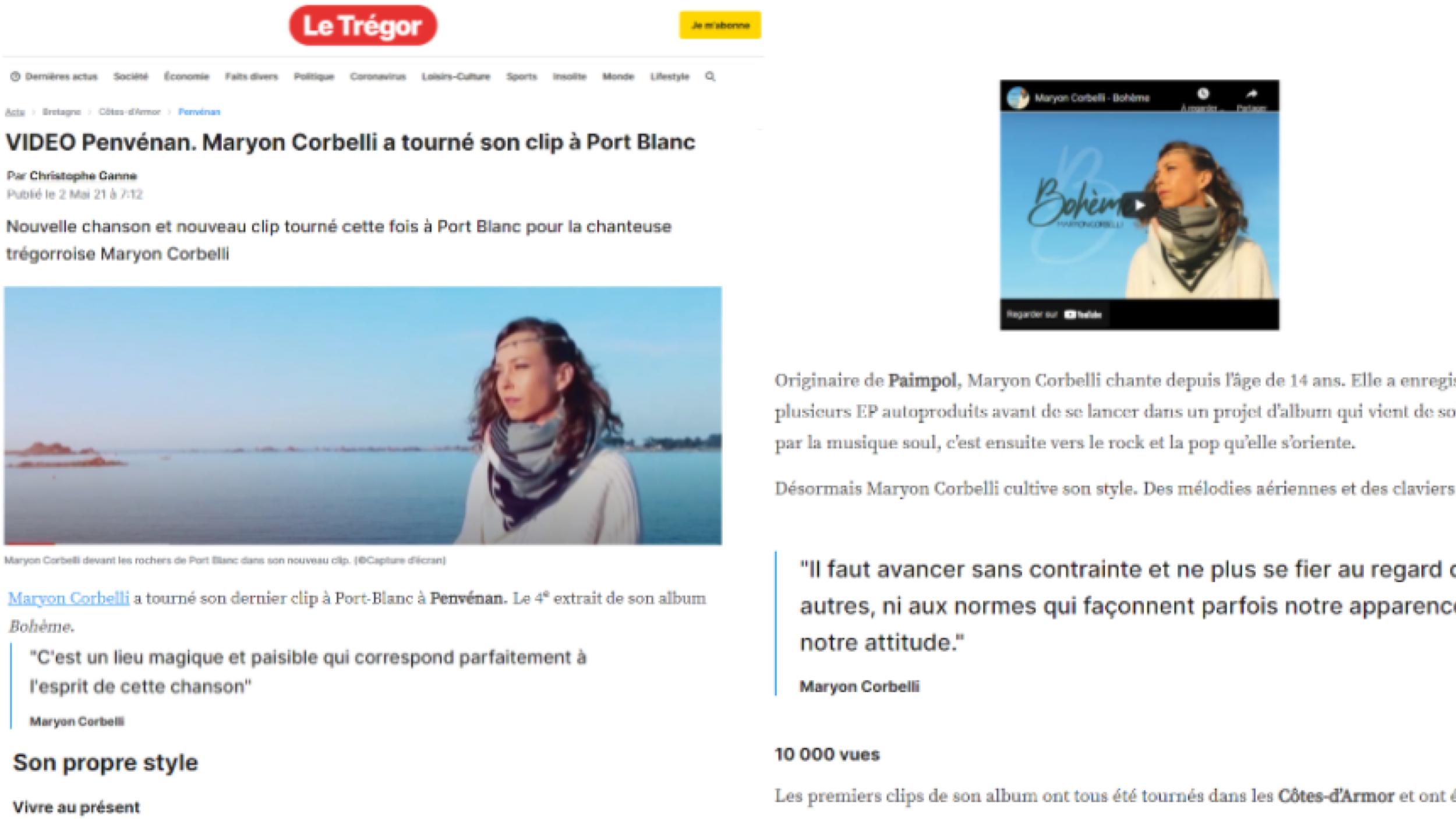 Maryon Corbelli - Album Bohème - Article Journal Le Trégor