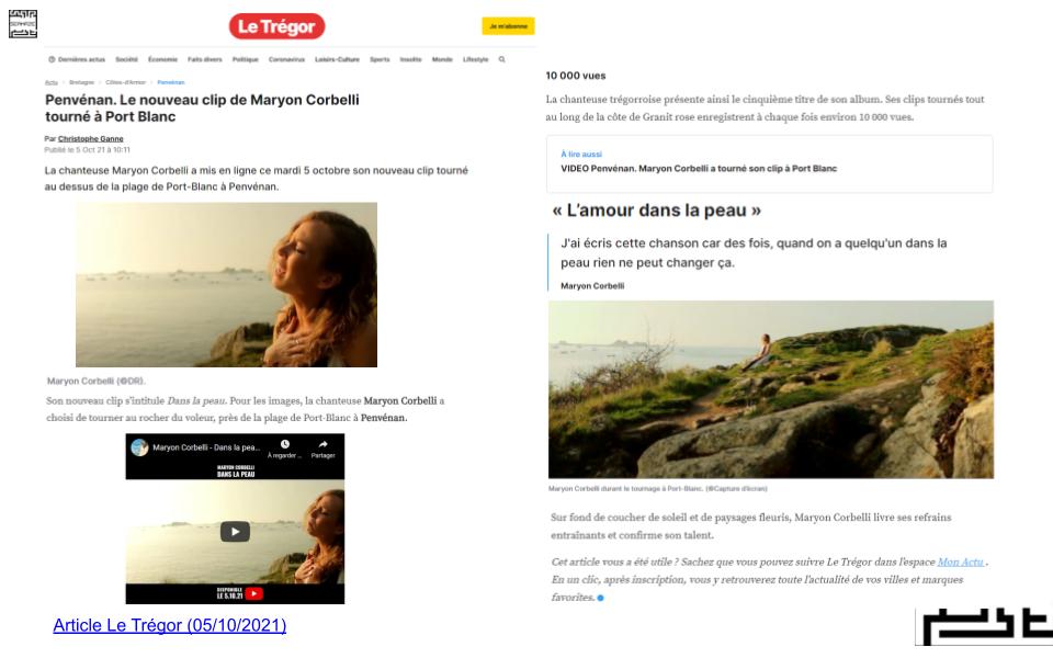 Article Journal Le Trégor - Maryon Corbelli - Clip Dans la peau